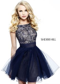 Find Sherri Hill 11032 blue beaded homecoming dresses online now at RissyRoos.com.