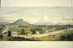"""An idealised view of New Plymouth in New Zealand, painted in bucolic mode to encourage settlers. Charles Brown senior begged to differ. But before he could make the return voyage, he died here of an """"apopleptic fit""""."""
