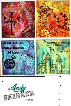 Mixed Media Bg Tutorial. Acrylic paint background with pigment inks and stamping