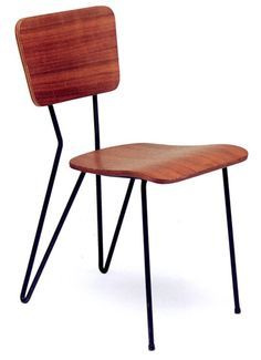 Peter Cotton; Plywood and Painted Metal 'Spring Back Chair', 1951.