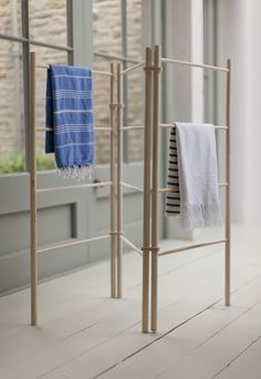 Wooden Clothes Dryer | Zig Zag A traditional wooden concertina design is great for everyday drying. When it's not in use it simply folds flat for storage. Use in front of the fire or heater in colder months. In Summer it is lovely outside on a balcony or by the swimming pool to hang towels. I use mine in the bedroom to store blankets and scarves.  Folds flat for storage. 1.55m high. Folds down to 10 cm thick. Each ladder is .5m wide. $123.00