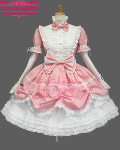 2015 Free Custom-made Pink Cotton White Lace Full Sleeve Women Ball Gown Sweet Girl Lolita Dress Free Shipping