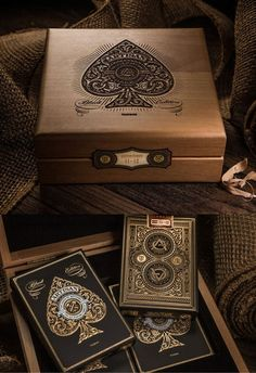 """""""The Artisan Collector's Edition contains four decks sealed inside of a laser etched, wood engraved box. Trotec Laser, Laser Art, Laser Cut Wood, Laser Cutting, Laser Cutter Ideas, Laser Cutter Projects, Cnc Projects, Metal Wood, Cnc Wood"""