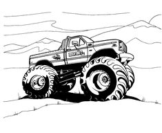 Free Printable Monster Truck Coloring Pages For Kids Monster Truck Drawing, Monster Truck Coloring Pages, Cars Coloring Pages, Bible Coloring Pages, Coloring Pages For Boys, Kids Colouring, Free Coloring, Monster Trucks, Monster Truck Birthday