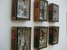 Altered books/ book sculptures by  Nicholas Jones, Jacqueline Rush Lee, and Alexander Korzer Robinson.