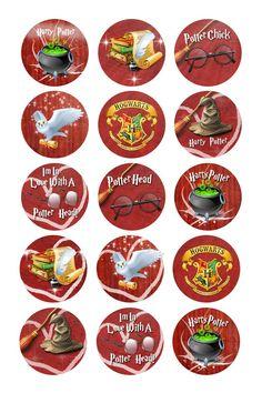Harry Potter Digital Bottle Cap Images Cupcake by Harry Potter Fiesta, Harry Potter Planner, Classe Harry Potter, Cumpleaños Harry Potter, Harry Potter Printables, Harry Potter Birthday, Harry Potter Cupcake Toppers, Harry Potter Cupcakes, Bottle Cap Projects