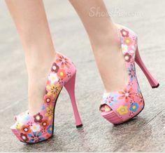 Sweet Colorful Peep-toe Platform Stiletto Heels