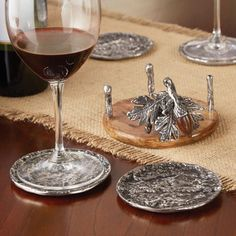 Mud Pie Acorn and Oak Leaves Autumn Drink Coasters and Holder Set