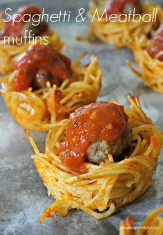 "Super fun dinner recipe: Spaghetti & Meatball Muffins. Bake noodle ""nests"" using a muffin tin. These work great as appetizers for your game day party, too."