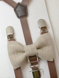 SET Kids Boys Dark Brown Pu Leather Suspenders & Rustic Oatmeal Tan Linen Burlap Clip on / pre-tied Bow Tie Vintage Style 6 MONTHS - ADULT