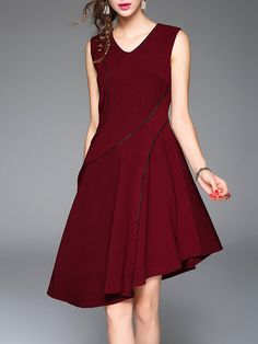 Shop Midi Dresses - Wine Red Asymmetrical Asymmetric Sleeveless Plain Midi Dress online. Discover unique designers fashion at StyleWe.com.