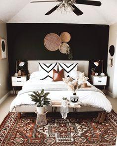 Home Decor Bedroom, Bedroom Wall, Grey Brown Bedrooms, Black Master Bedroom, Gothic Bedroom, Modern Master Bedroom, Master Bedroom Design, Spare Bedroom Ideas, White And Brown Bedroom