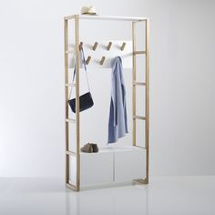 Compo Coat and Shoe Storage Unit LA REDOUTE INTERIEURS 7 hooks and shelf/shoe cupboard at the bottom. A mix of natural oak and white lacquered MDF, this multi-purpose unit is practical and versatile! Shoe Storage Cupboard, Coat And Shoe Storage, Shoe Storage Unit, Hallway Storage, Home Furnishing Accessories, Home Furnishings, Hallway Furniture, Home Furniture, Clothes Rail