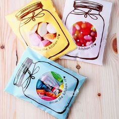 "100 Pcs Mason Jar ""From the Kitchen of <3"" Self Adhesive Packaging Gift Bags"