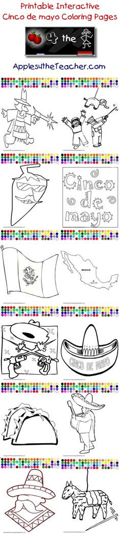 Cinco de mayo coloring pages from www.apples4theteacher.com/coloring-pages/cinco-de-mayo/.  These printable interactive cinco de mayo coloring pages are great for mouse practice, story starters or book report covers.