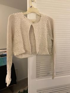 Cream colored crop cardigan. Size Large/XL. Modcloth label.