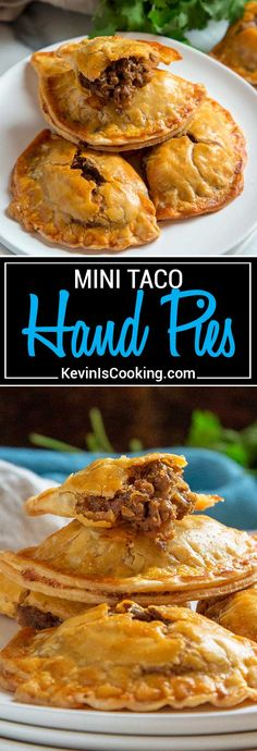 These Mini Taco Hand Pies are a cinch to make using refrigerated pie dough instead of crunchy taco shells, seasoned ground beef with my Taco Seasoning, red onion, refried beans and cheese. Easy to make, great to freeze for later, a perfect mid-week dinner with salad. #pie #taco #tacotuesday via @keviniscooking