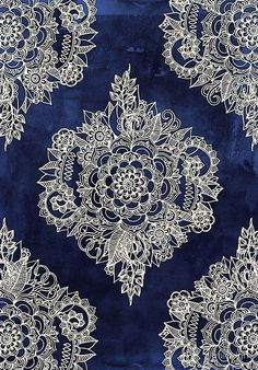Cream Floral Moroccan Pattern on Deep Indigo Ink by micklyn - Available as T-Shirts & Hoodies, Stickers, iPhone Cases, Samsung Galaxy Cases, Posters, Home Decors, Tote Bags, Prints, Cards, Kids Clothes, and iPad Cases