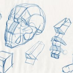Head construction demo in a students drawing pad. From my Head & Hands class…