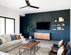 Blue Living Room Decor, Accent Walls In Living Room, Living Room Grey, Home Living Room, Living Room Designs, Blue Feature Wall Living Room, Navy Blue And Grey Living Room, Blue Accent Walls, Navy Blue Walls