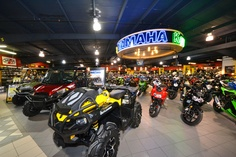The showroom (with a nice new Can-Am Outlander 650 X mr) at Woods Cycle Country in New Braunfels, TX #WoodsCycleCountry