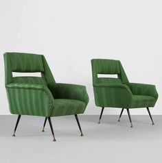 Carlo di Carli; Lounge Chairs with Enameled Metal and Brass Legs, c1960.