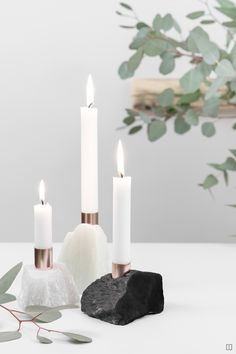 Soapstone candlestick Candlestick Candlestick modern DIY natural material with copper ferrules Modern Candle Holders, Candle Holder Decor, White Candles, Pillar Candles, Diy For Kids, Crafts For Kids, Diy Home Accessories, Soapstone, Candlesticks