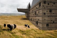 New York studio Axis Mundi have designed a house for a mountainside in Montana, USA, which incorporates a 60 foot internal bridge Called Ark House, the building will have an entrance hall at one end sheltered by one of two steeply-sloping roof structures. Architecture Design, Concept Architecture, Residential Architecture, Amazing Architecture, House Design Pictures, Chicago, Corten Steel, New York, Maine House