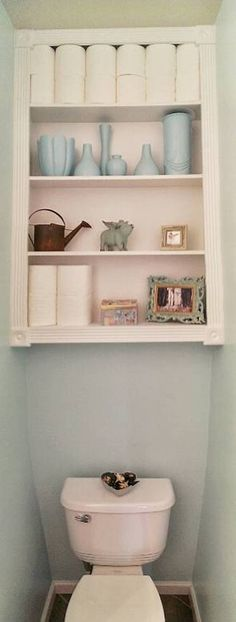 Storage And Organization , Space Saving Over The Toilet Storage : Wall Mounted Cabinet Open Shelves Over The Toilet Storage In Very Small Space