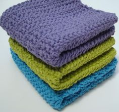 3 Cotton Dishcloths: Bright, Turquoise Blue, Lime Green, Purple Crochet Dishcloths, Dish Cloths - Home, Kitchen Decor - Ready To Ship by Hoooked, $12.00