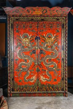 Tibetan Lama's Cabinet, circa 1890-1900 | From a unique collection of antique and modern furniture at https://www.1stdibs.com/furniture/asian-art-furniture/furniture/