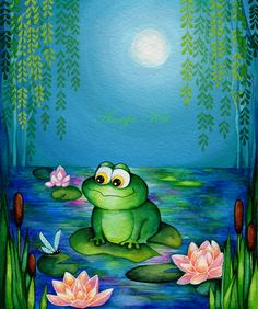 Frog & Dragonfly Lily Pond - Painting Print by Annya Kai - Modern Whimsical Nursery Decor Green Blue Teal Wall Art. $18.00, via Etsy.