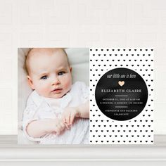 Heartfelt Pattern - Photo Birth Announcements in Black / White