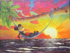 Beach Chillin, 2017 by wickedspaceant on DeviantArt Mickey Mouse, Paintings, Deviantart, Canvas, Disney, Beach, Tela, Painting Art, Seaside