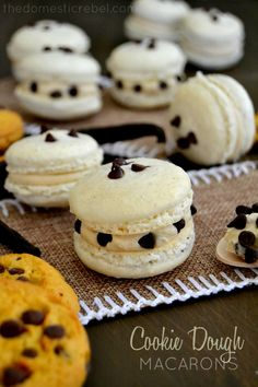 These Cookie Dough Macarons are petite French-style cookies filled with egg-free cookie dough! Surprisingly easy and positively irresistible!