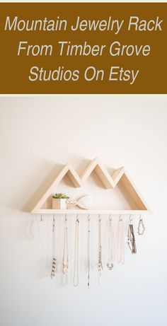 Jewelry Organizer Ideas Storage | Mountain jewelry rack from Timber Grove Studios on Etsy | Jewelry Organizer Diy Wall | Jewelry Organizer Ideas Storage Jewelry Rack, Jewelry Organizer Wall, Etsy Jewelry, Jewelry Findings, Red Streaks, Types Of Craft, Make Good Choices, Wholesale Beads, Coin Pendant