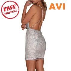 9308fd72e33f2 Summer Mini Bodycon Dress Women Sequin Dress Plunging V Neck Spaghetti   Mini Fashion D
