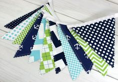 Banner, Anchor Bunting, Nautical Nursery Decor, Photography Prop, Fabric Flags - Anchors, Aqua Blue, Navy Blue, Lime Green, Chevron, Dots