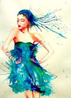Blues Watercolor Fashion Illustration PRINT by DouceArtifice, $18.00