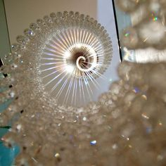 Crystal Ribbon Eva Menz Design Crystal Chandelier elegant spiral focal point