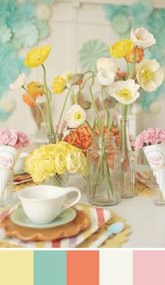 A beautiful color palette for a spring wedding.  Source: ruffled #springwedding #centerpiece #colorpalette