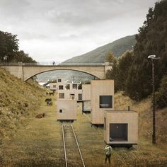 Buildings roll through the city on railway tracks in this masterplan by Swedish architects Jagnefalt Milton for Åndalsnes in Norway.