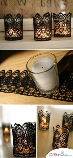 DIY Black Lace Candles for Halloween. These stunning… DIY Black Lace Candles for Halloween. These stunning… Lace Candles, Diy Candles, Scented Candles, Ideas Candles, Ideas Lanterns, Making Candles, Vintage Candles, White Candles, Floating Candles