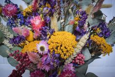Dried preserved flowers are perfect for Weddings and elopements.Purple, pink, yellow with eucalyptus. Scottish Flowers, Pink Yellow, Purple, Preserved Flowers, Second Weddings, How To Preserve Flowers, Flower Farm, Elopements, Wedding Bouquets