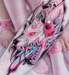 "Italian tattooist Brando Chiesa calls his work ""pastel gore,"" and the description is so apt. His bold neo-traditional style is seeping with cotton candy pinks, mint greens, and lilac. Despite this subdued palette, the content of his work is grotesque. His imagery is often inspired by Japanese pop culture—including animated films by Hayao Miyazaki … More"