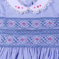 Intricate work on this blue dress Girls Smocked Dresses, Baby Girl Dresses, Blue Dresses, Smocking Plates, Smocking Patterns, Girl Doll Clothes, Diy Clothes, Little Girl Outfits, Kids Outfits