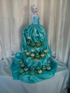 Frozen Cupcakes presentation - Elsa dress - Frozen Party Ideas - Frozen party food ideas