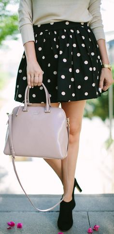 Black And White Polka Dot Mini A-skirt by A Little Dash Of Darling