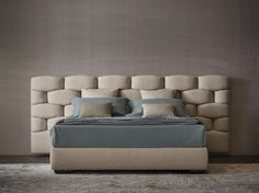 Double bed with upholstered headboard MAJAL by Flou | design Carlo Colombo