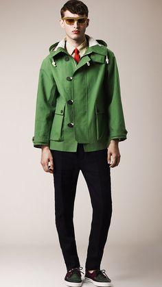 Burberry Prorsum Menswear Spring/Summer 2014 green short duffle rain coat #retro style